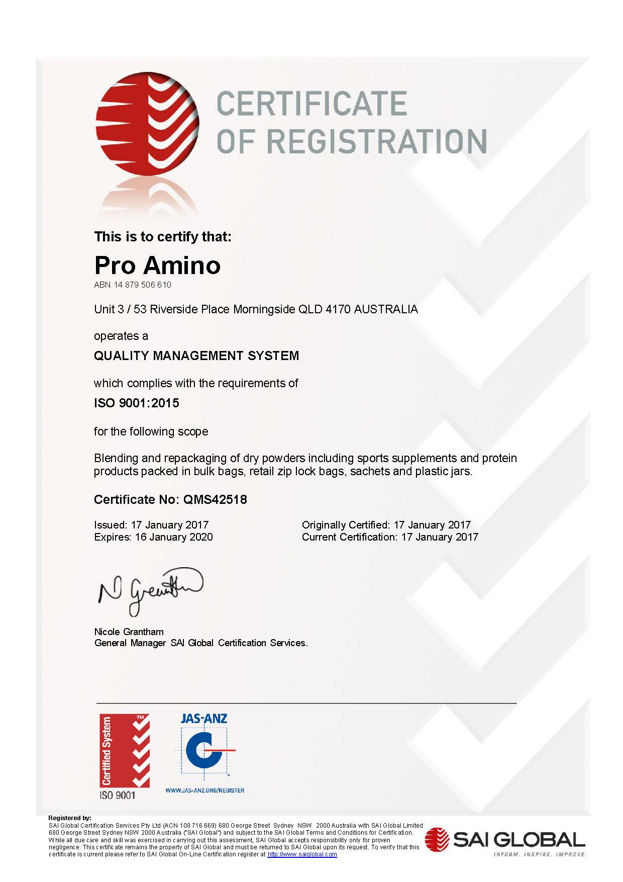 Accreditations pro amino certificate qms42518 20170117 yadclub Choice Image