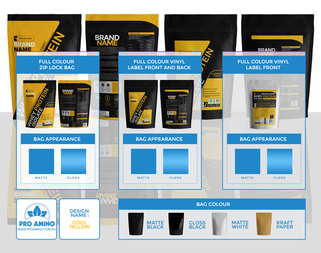 Cool Yellow Protein Powder Packaging Design Template