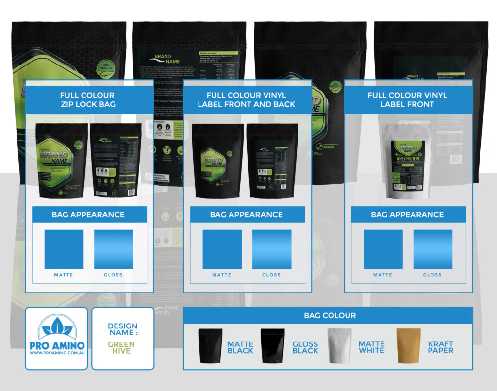 Green Hive Protein Powder Packaging Design Template