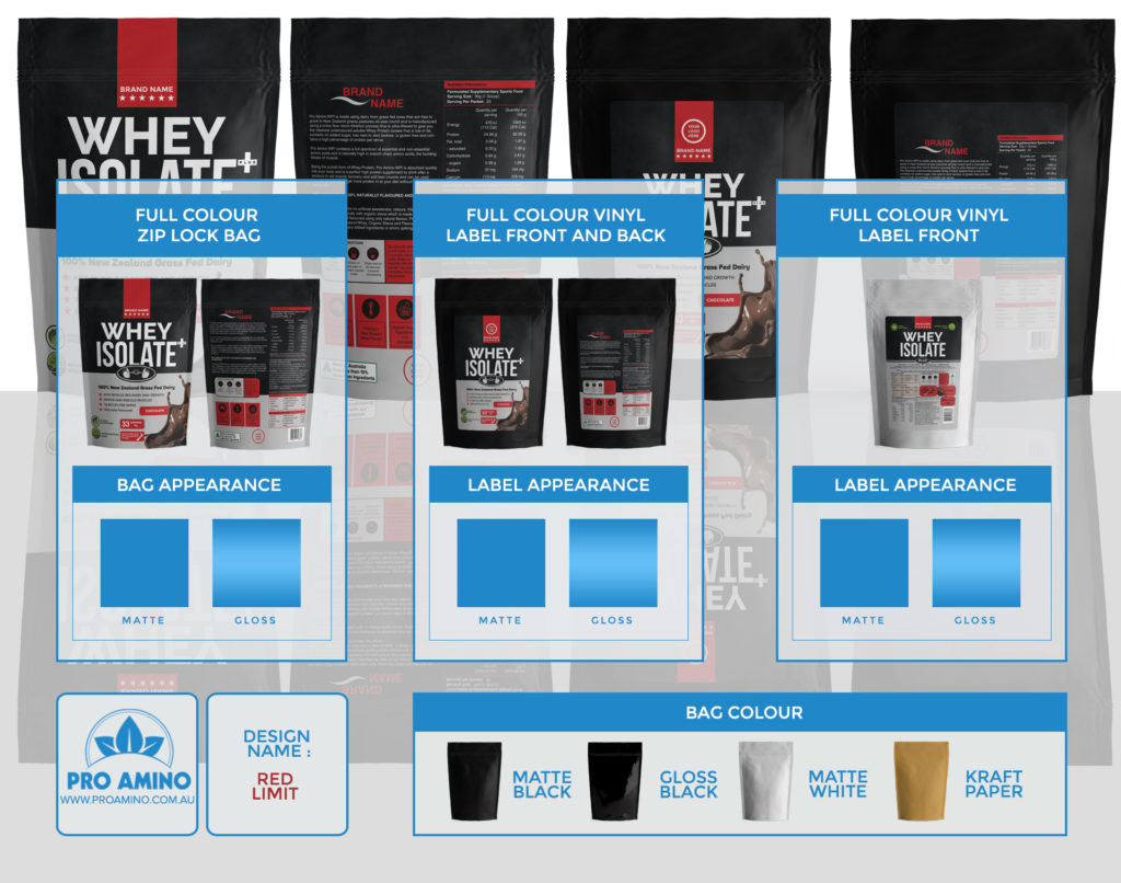 Red Limit Protein Powder Packaging Design Template