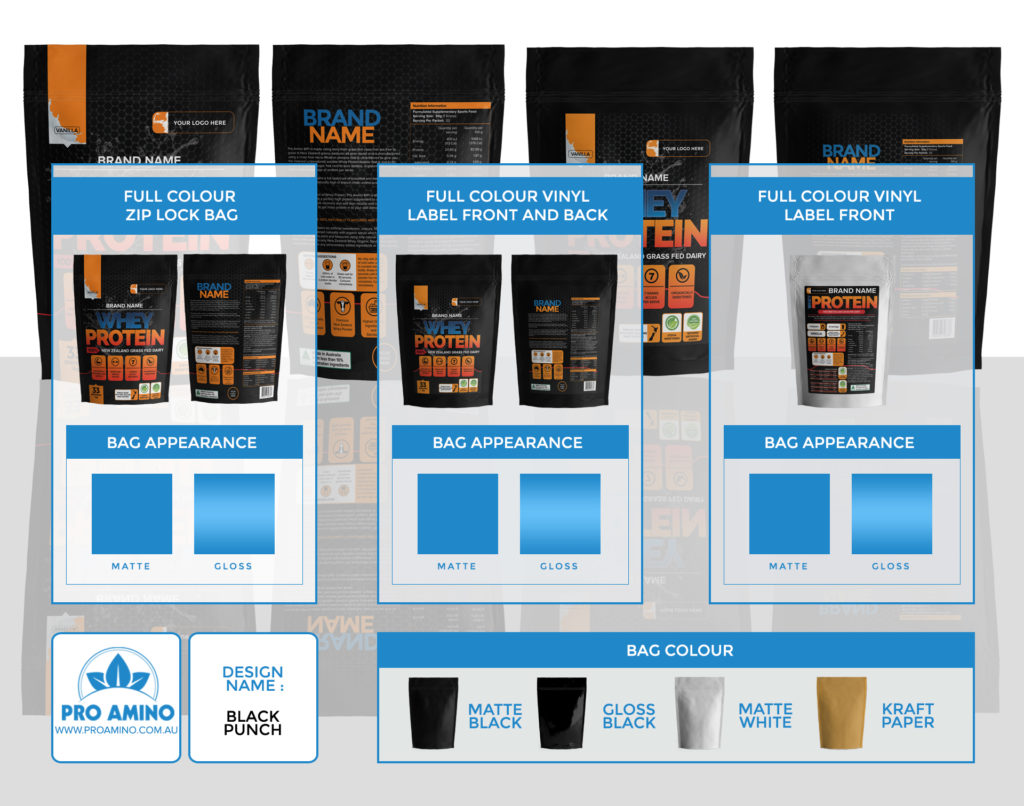 Black Punch Protein Powder Packaging Design Template