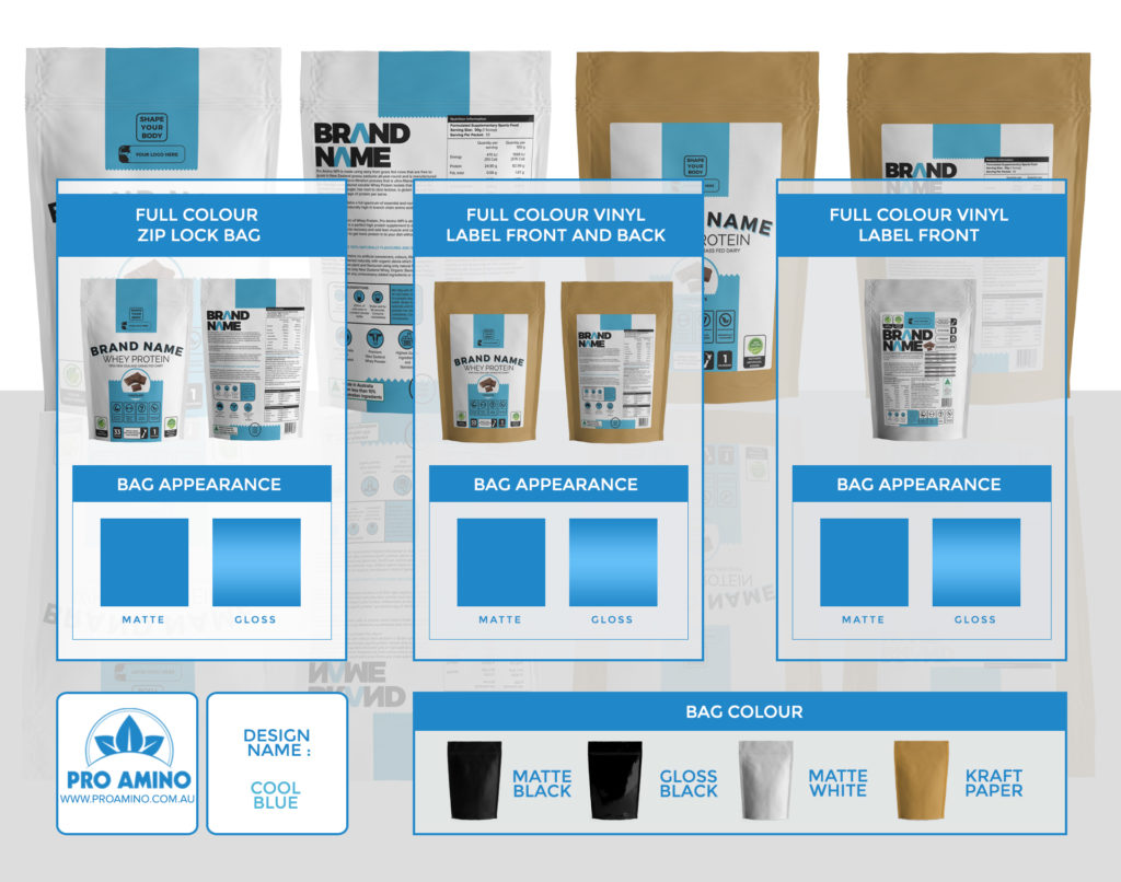 Cool Blue Protein Powder Packaging Design Template