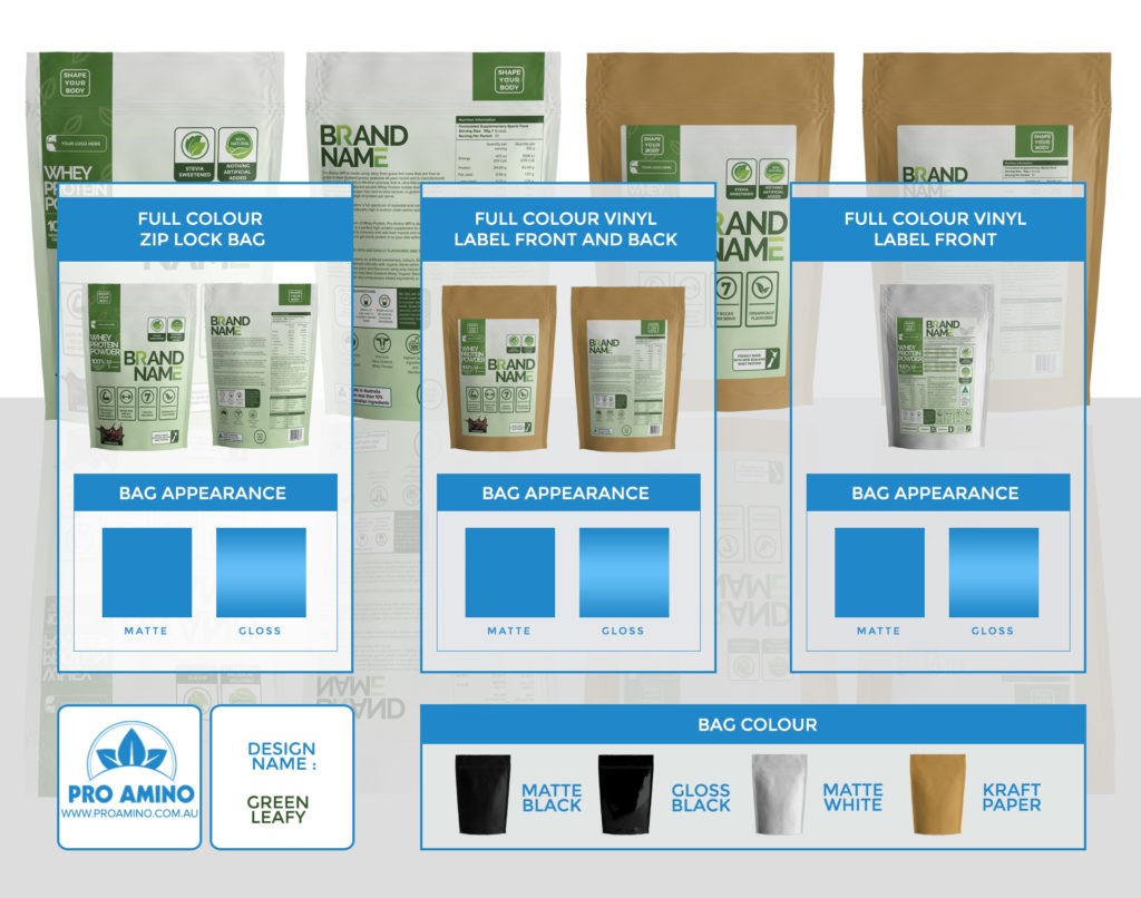 Green Leafy Protein Powder Packaging Design Template