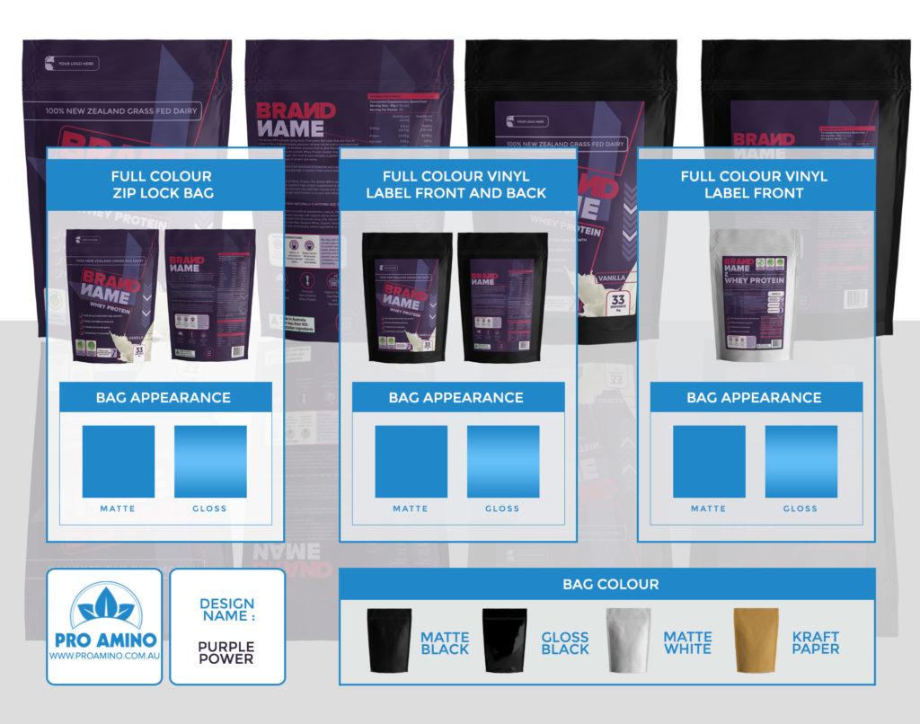 Purple Power Protein Powder Packaging Design Template