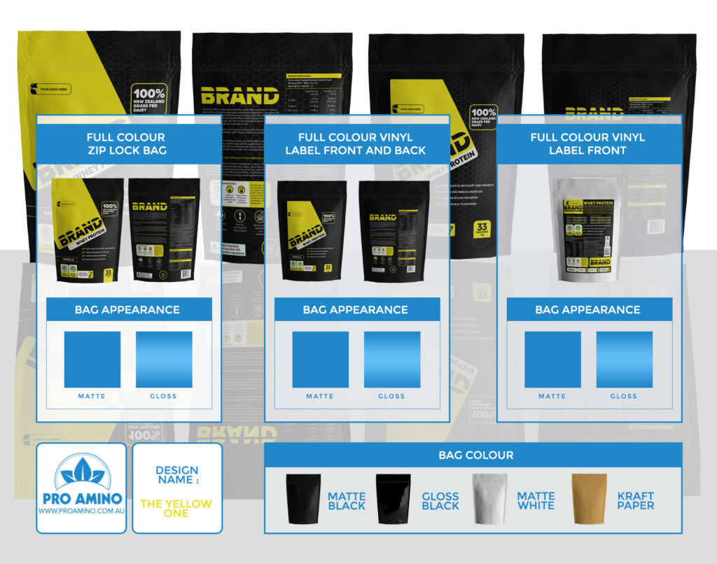 The Yellow One Protein Powder Packaging Design Template