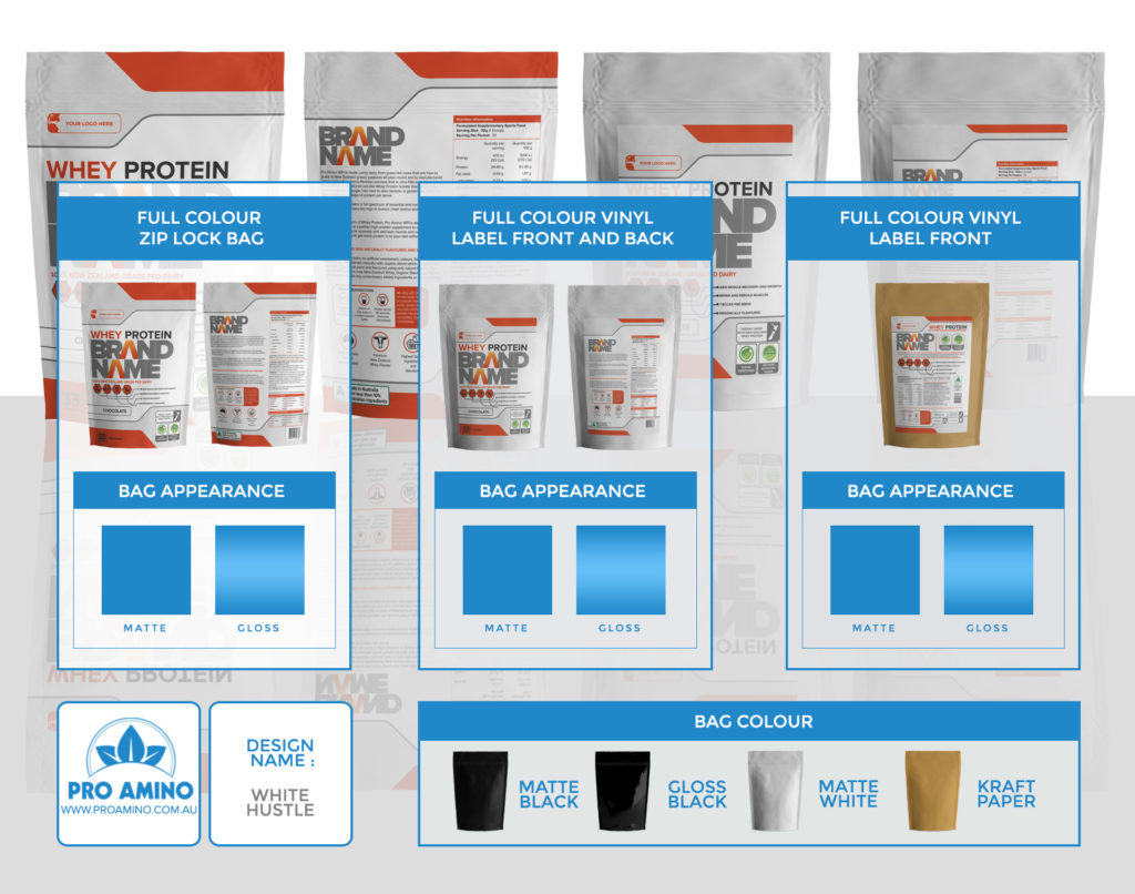White Hustle Protein Powder Packaging Design Template