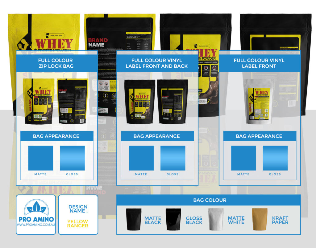 Yellow Ranger Protein Powder Packaging Design Template